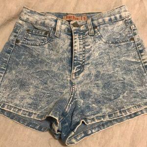 Pants - Stretchy Acid Wash Jean Shorts